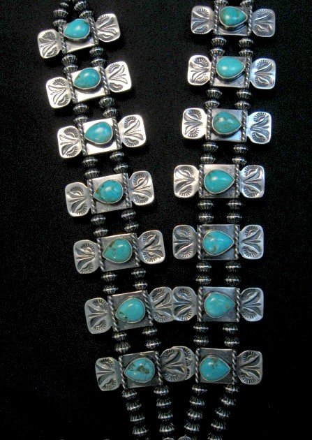 Image 5 of Navajo Turquoise Bow Tie Squash Blossom Necklace, Everett & Mary Teller