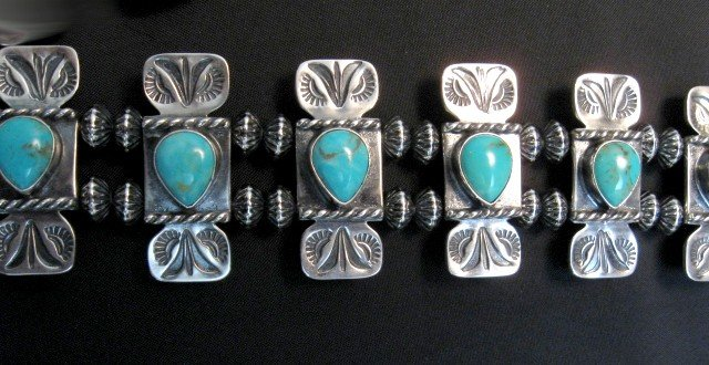 Image 8 of Navajo Turquoise Bow Tie Squash Blossom Necklace, Everett & Mary Teller