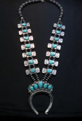 Navajo Turquoise Bow Tie Squash Blossom Necklace, Everett & Mary Teller