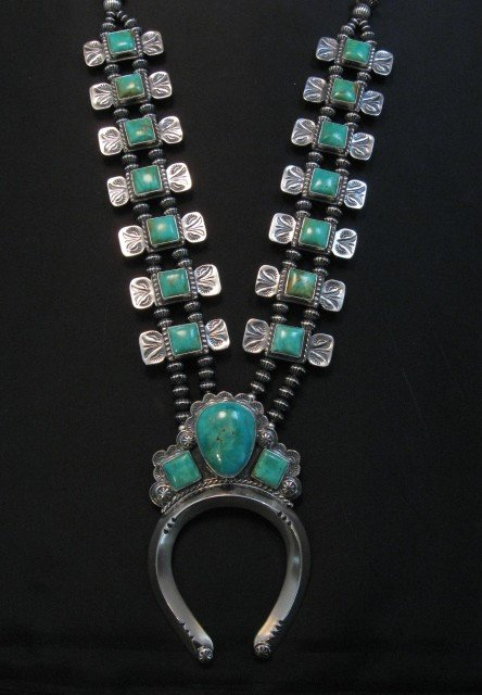 Image 10 of Navajo Emerald Valley Turquoise Bow Tie Squash Necklace, Everett & Mary Teller