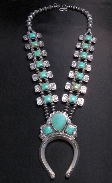 Image 3 of Navajo Emerald Valley Turquoise Bow Tie Blossom Necklace, Everett & Mary Teller