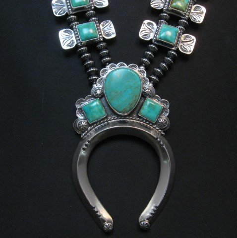 Image 2 of Navajo Emerald Valley Turquoise Bow Tie Blossom Necklace, Everett & Mary Teller