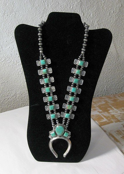 Image 1 of Navajo Emerald Valley Turquoise Bow Tie Blossom Necklace, Everett & Mary Teller
