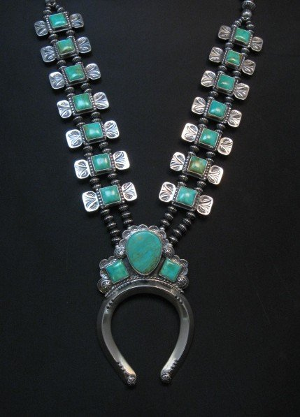 Image 9 of Navajo Emerald Valley Turquoise Bow Tie Blossom Necklace, Everett & Mary Teller