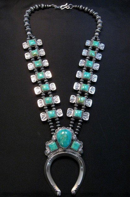 Image 0 of Navajo Emerald Valley Turquoise Bow Tie Squash Necklace, Everett & Mary Teller
