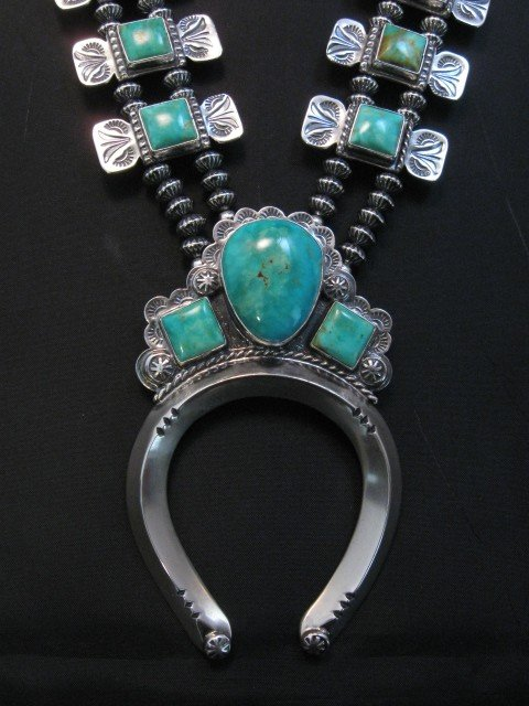 Image 1 of Navajo Emerald Valley Turquoise Bow Tie Squash Necklace, Everett & Mary Teller