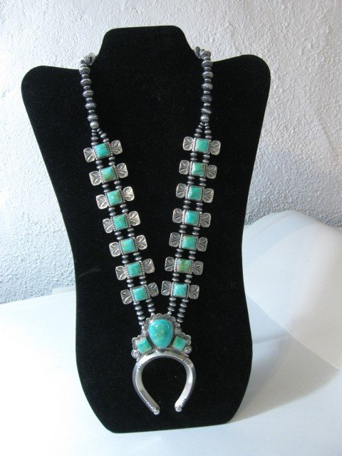Image 2 of Navajo Emerald Valley Turquoise Bow Tie Squash Necklace, Everett & Mary Teller