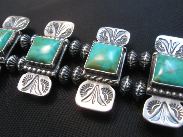 Image 4 of Navajo Emerald Valley Turquoise Bow Tie Blossom Necklace, Everett & Mary Teller
