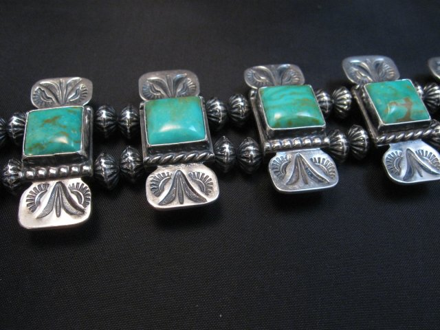 Image 5 of Navajo Emerald Valley Turquoise Bow Tie Blossom Necklace, Everett & Mary Teller