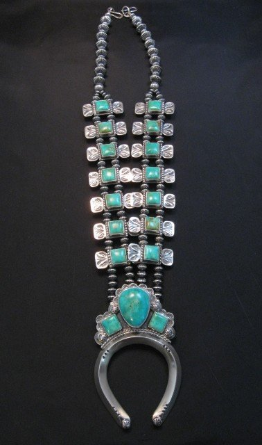 Image 5 of Navajo Emerald Valley Turquoise Bow Tie Squash Necklace, Everett & Mary Teller