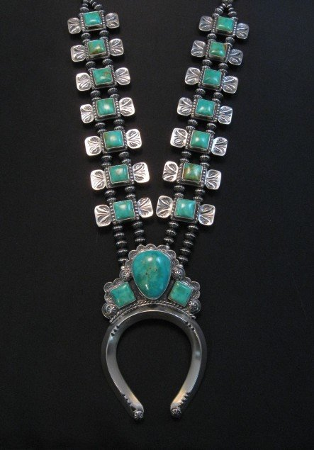 Image 7 of Navajo Emerald Valley Turquoise Bow Tie Squash Necklace, Everett & Mary Teller
