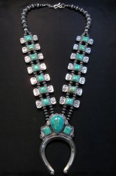 Navajo Emerald Valley Turquoise Bow Tie Squash Necklace, Everett & Mary Teller