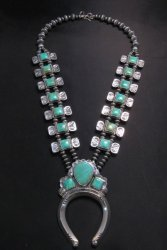 Navajo Emerald Valley Turquoise Bow Tie Blossom Necklace, Everett & Mary Teller