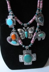 Unique Everett and Mary Teller Navajo Treasure Necklace