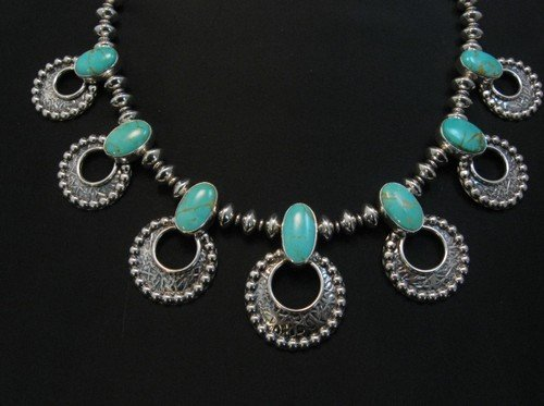 Image 0 of Navajo 7pc Turquoise Storm Cloud Silver Bead Necklace, Everett and Mary Teller