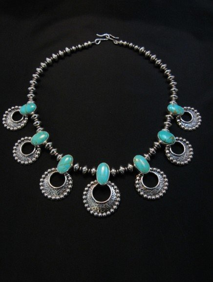 Image 1 of Navajo 7pc Turquoise Storm Cloud Silver Bead Necklace, Everett and Mary Teller