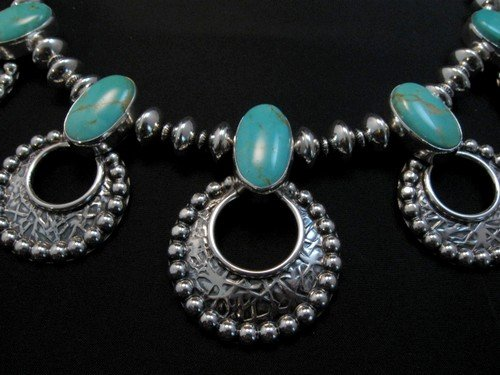 Image 2 of Navajo 7pc Turquoise Storm Cloud Silver Bead Necklace, Everett and Mary Teller