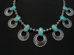 Navajo 7pc Turquoise Storm Cloud Silver Bead Necklace, Everett and Mary Teller
