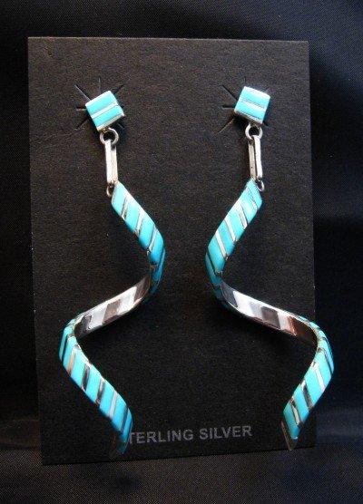 Image 0 of Long Zuni Turquoise Inlay Spiral Dangle Earrings Shawn Sheyka