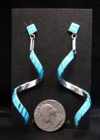 Image 2 of Long Zuni Turquoise Inlay Spiral Dangle Earrings Shawn Sheyka