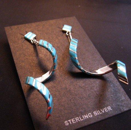 Image 3 of Long Zuni Turquoise Inlay Spiral Dangle Earrings Shawn Sheyka