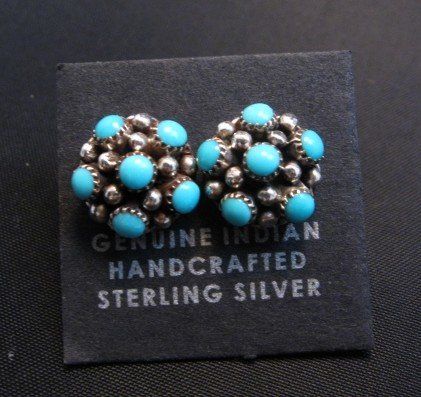 Image 0 of Dickie Charlie Zuni Turquoise Domed Cluster Post Earrings