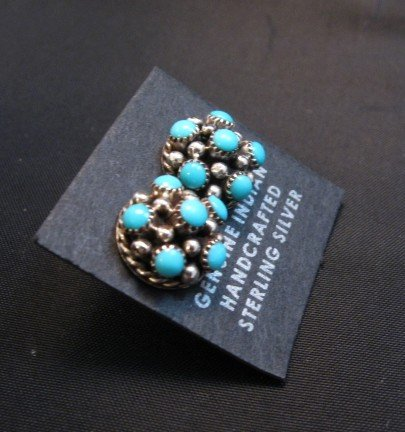 Image 1 of Dickie Charlie Zuni Turquoise Domed Cluster Post Earrings