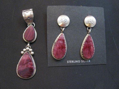 Image 3 of Navajo Purple Spiny Oyster Silver Earrings, Selena Warner