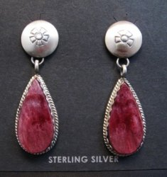 Navajo Purple Spiny Oyster Silver Earrings, Selena Warner