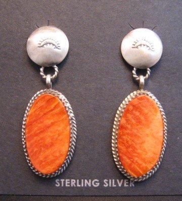 Image 0 of Navajo Orange Spiny Oyster Sterling Silver Earrings, Selena Warner