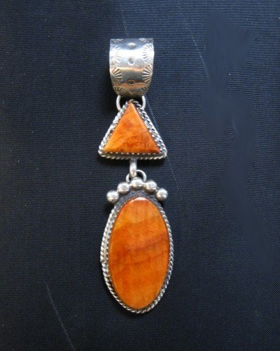 Image 0 of Navajo Double Orange Spiny Oyster Pendant, Selena Warner