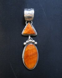Navajo Double Orange Spiny Oyster Pendant, Selena Warner