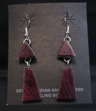 Image 0 of 2-pc Navajo Purple Spiny Oyster Dangle Earrings, Selena Warner