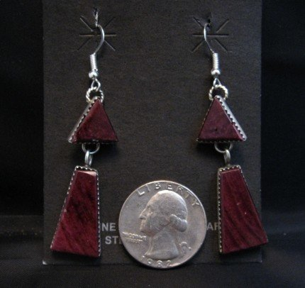 Image 1 of 2-pc Navajo Purple Spiny Oyster Dangle Earrings, Selena Warner
