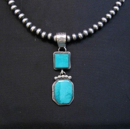 Image 0 of Navajo 2-Stone Turquoise Silver Pendant, Selena Warner