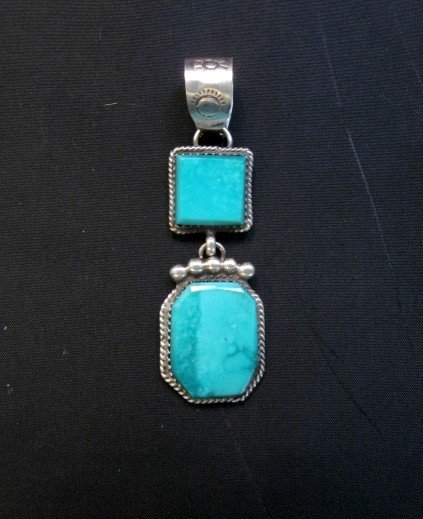Image 1 of Navajo 2-Stone Turquoise Silver Pendant, Selena Warner