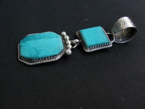 Image 2 of Navajo 2-Stone Turquoise Silver Pendant, Selena Warner