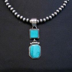 Navajo 2-Stone Turquoise Silver Pendant, Selena Warner