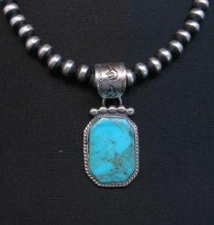Navajo Native American Turquoise Silver Pendant, Selena Warner