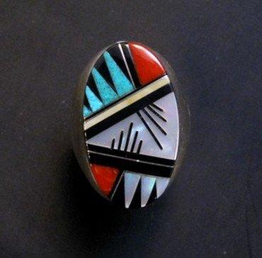 Image 0 of Large Zuni Multi Gem Inlay Ring, Elcario and Cleo Kallestewa, sz11