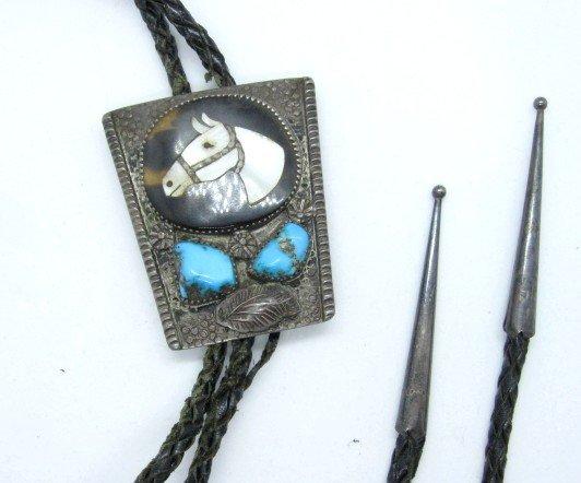 Image 0 of Vintage Isabelle Simplicio Zuni Turquoise Horse Head Inlay Bolo
