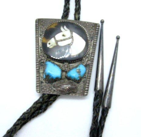 Image 2 of Vintage Isabelle Simplicio Zuni Turquoise Horse Head Inlay Bolo