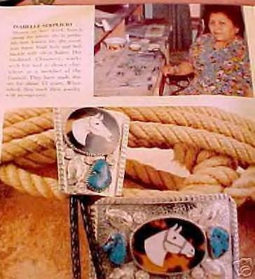 Image 4 of Vintage Isabelle Simplicio Zuni Turquoise Horse Head Inlay Bolo