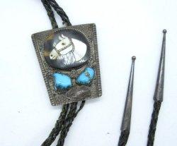 Vintage Isabelle Simplicio Zuni Turquoise Horse Head Inlay Bolo