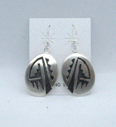 Image 0 of Hopi Sterling Silver Overlay Earrings, Ambrose Namoki