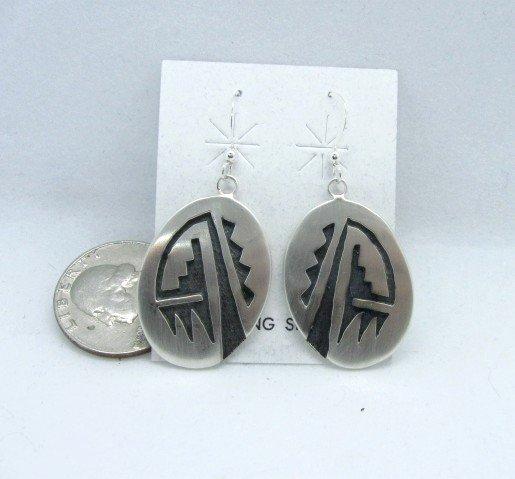 Image 1 of Hopi Sterling Silver Overlay Earrings, Ambrose Namoki