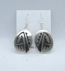Hopi Sterling Silver Overlay Earrings, Ambrose Namoki