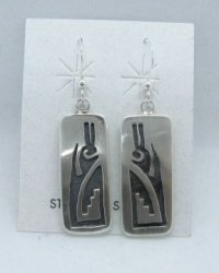Hopi Sterling Silver Overlay Dangle Earrings, Ambrose Namoki