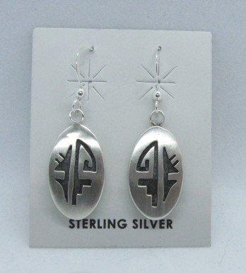 Image 0 of Oval Hopi Sterling Silver Overlay Dangle Earrings, Ambrose Namoki