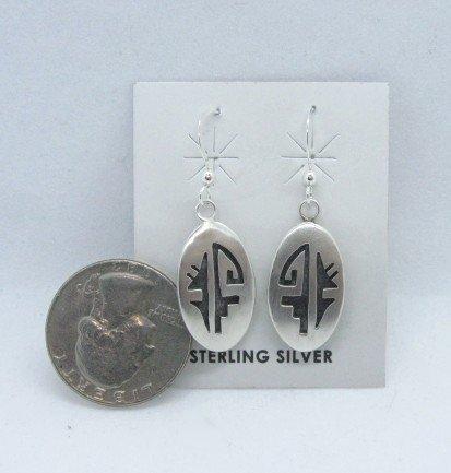 Image 1 of Oval Hopi Sterling Silver Overlay Dangle Earrings, Ambrose Namoki